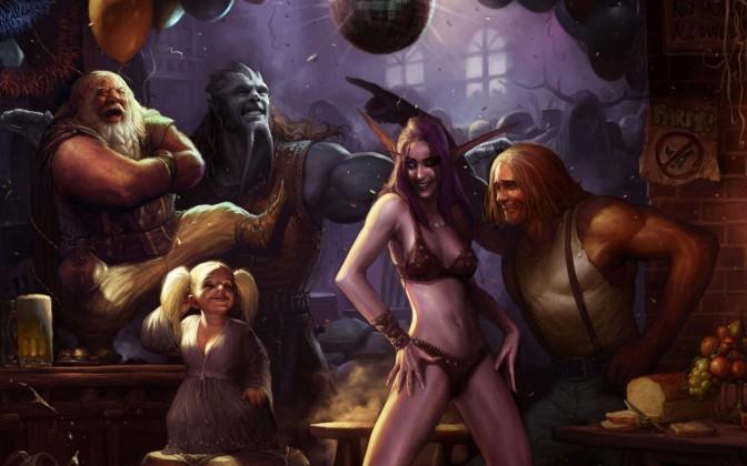 Ricordiamo anche la Compagnia di Westfall, dove un Phar sbronzo e mezzo nudo si auto convince di ballare con un'elfa della notte mentre Thordar se la ride e balla sul tavolo (sullo sfondo Yorghe mentre Rayz sfonda la palla a specchi con i dardi incantati) (World of Warcraft)